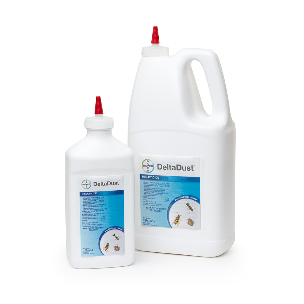 DeltaDust 1 lb and 5 lb Bottle Product Package
